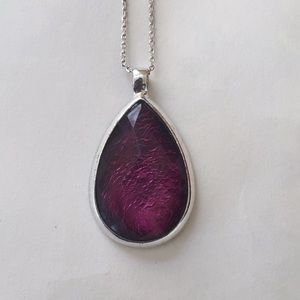 Purple glass necklace silver tone